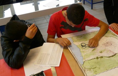 Students at work on topographic map